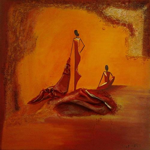 Cuadro titulado, Africanas vendiendo mantos