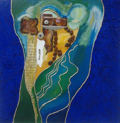 Cuadro titulado Barco hundido en el mar