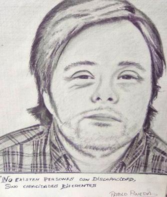 Dibujo de retrato a lápiz con mensaje. No existen personas con discapacidad, sino capacidades diferentes.