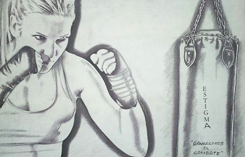 Dibujo de boxeadora realizado por Vanesa