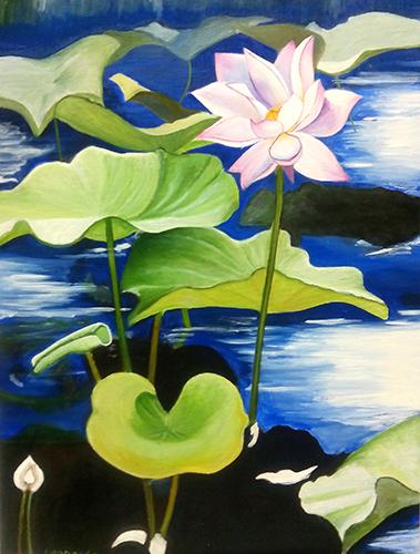 Cuadro titulado Flores en el lago de Leonardo
