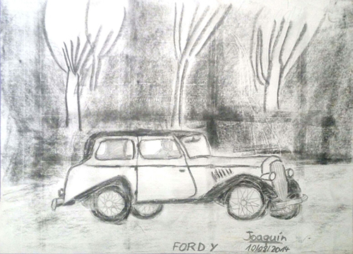 Dibujo a lápiz de un coche de la marca FORD de Joaquín