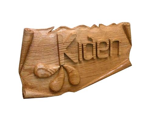 Talla de madera para el gimnasio Kiden. Autor: Leonardo