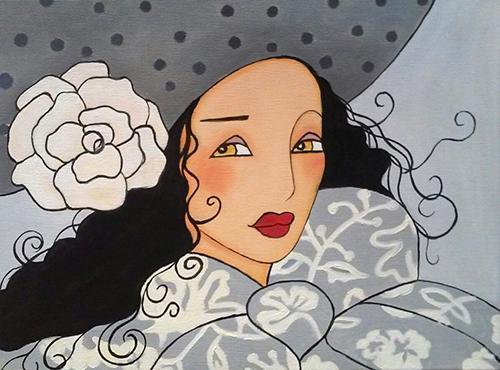 Cuadro titulado Mujer con rosa blanca de Leonardo