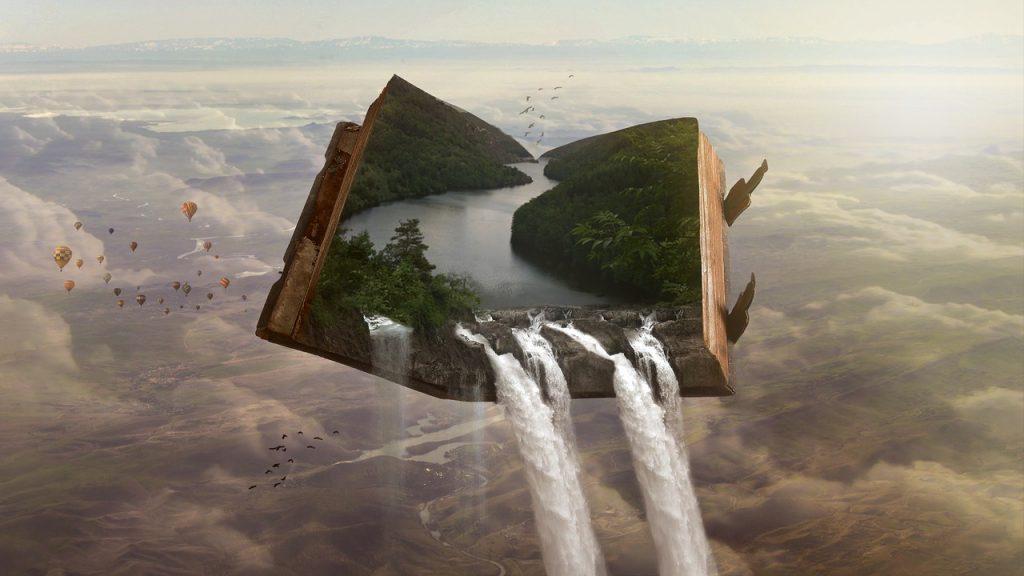 Imagen surrealista de un libro.