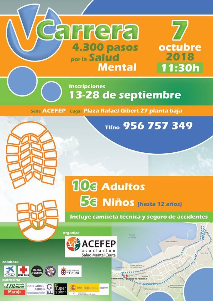 cartel de la V carrera solidaria 4.300 pasos por la salud mental