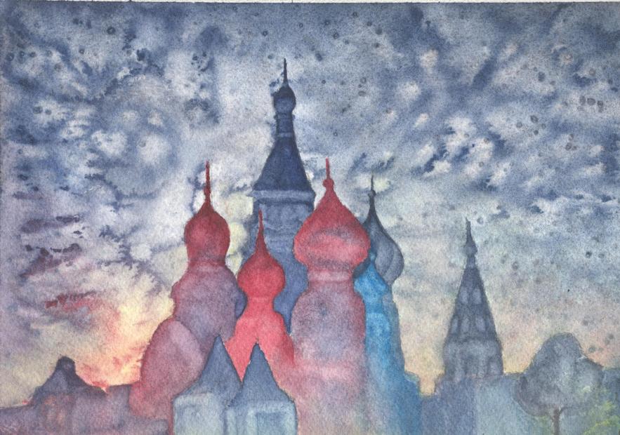 Ilustración ganadora: los tejados con cúpulas de una ciudad se recortan en un cielo nublado.