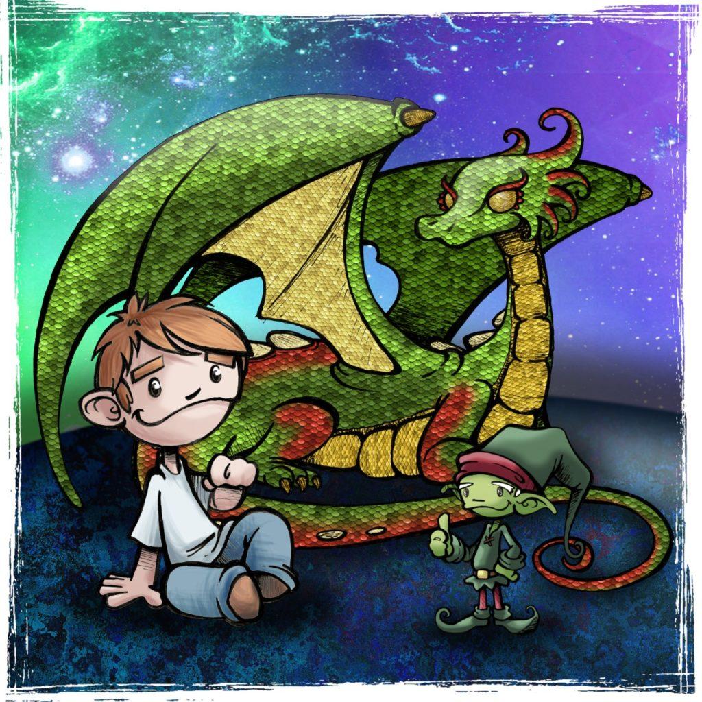 Ilustración de un niño, un dragón y un duende