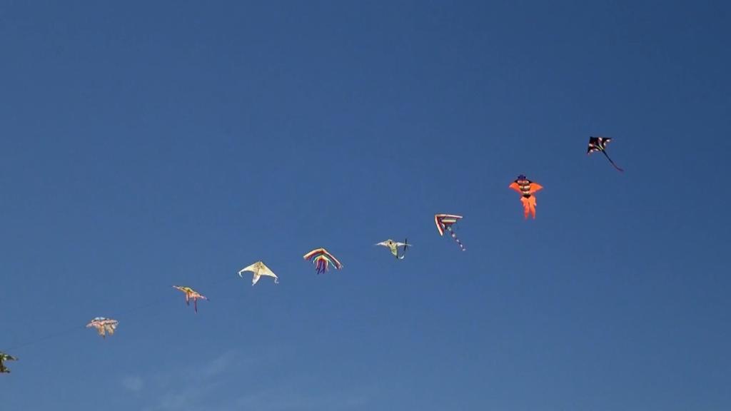 Unas cometas de colores, unidas unas a otras, vuelan en un cielo azul