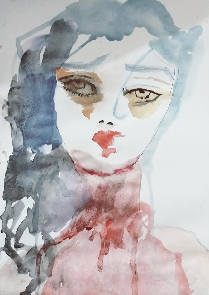 Retrato de una mujer hecho con acuarela, expresivo. Mirada triste