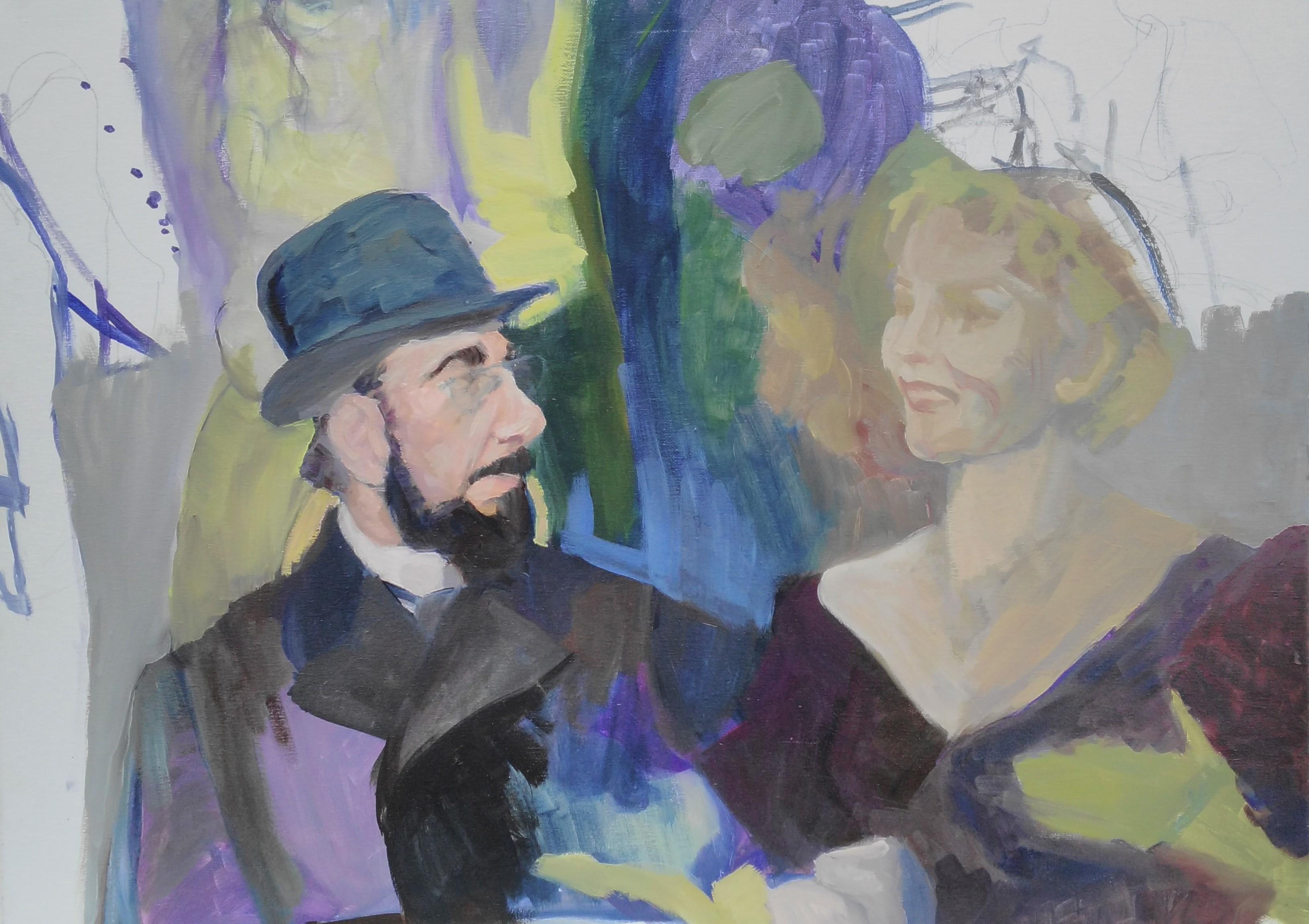 Óleo de un hombre con sombrero y una mujer