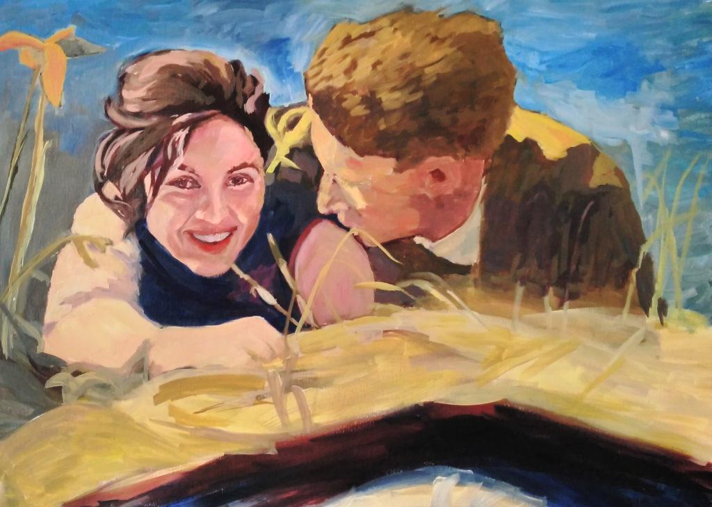 Cuadro de óleo sobre lienzo. Retrato de una pareja tumbada en el campo. Ella nos sonríe, él la mira.