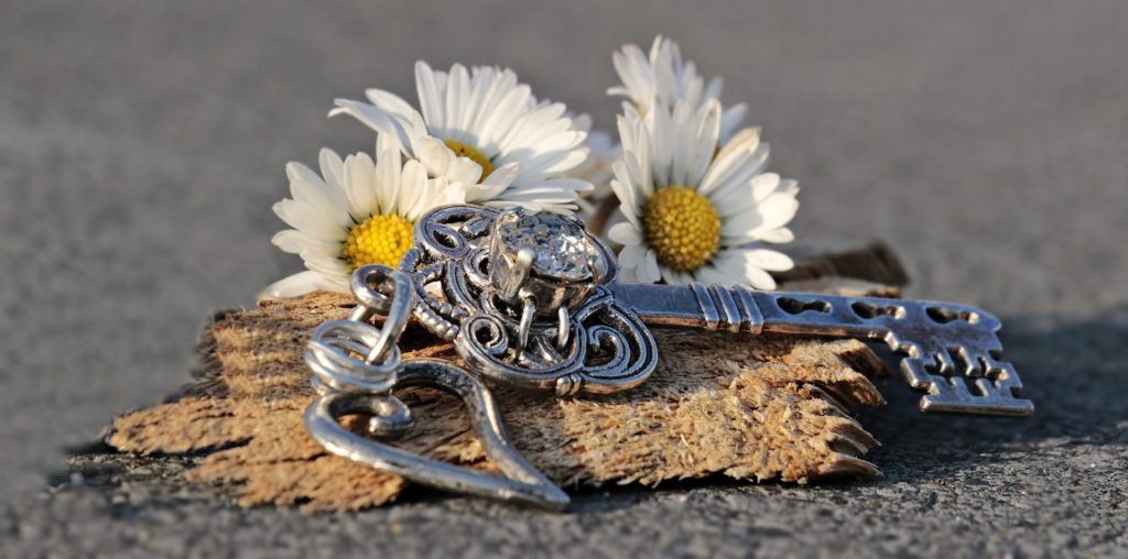 Una llave en un llavero con un corazón, sobre un trozo de madera en el suelo y margaritas