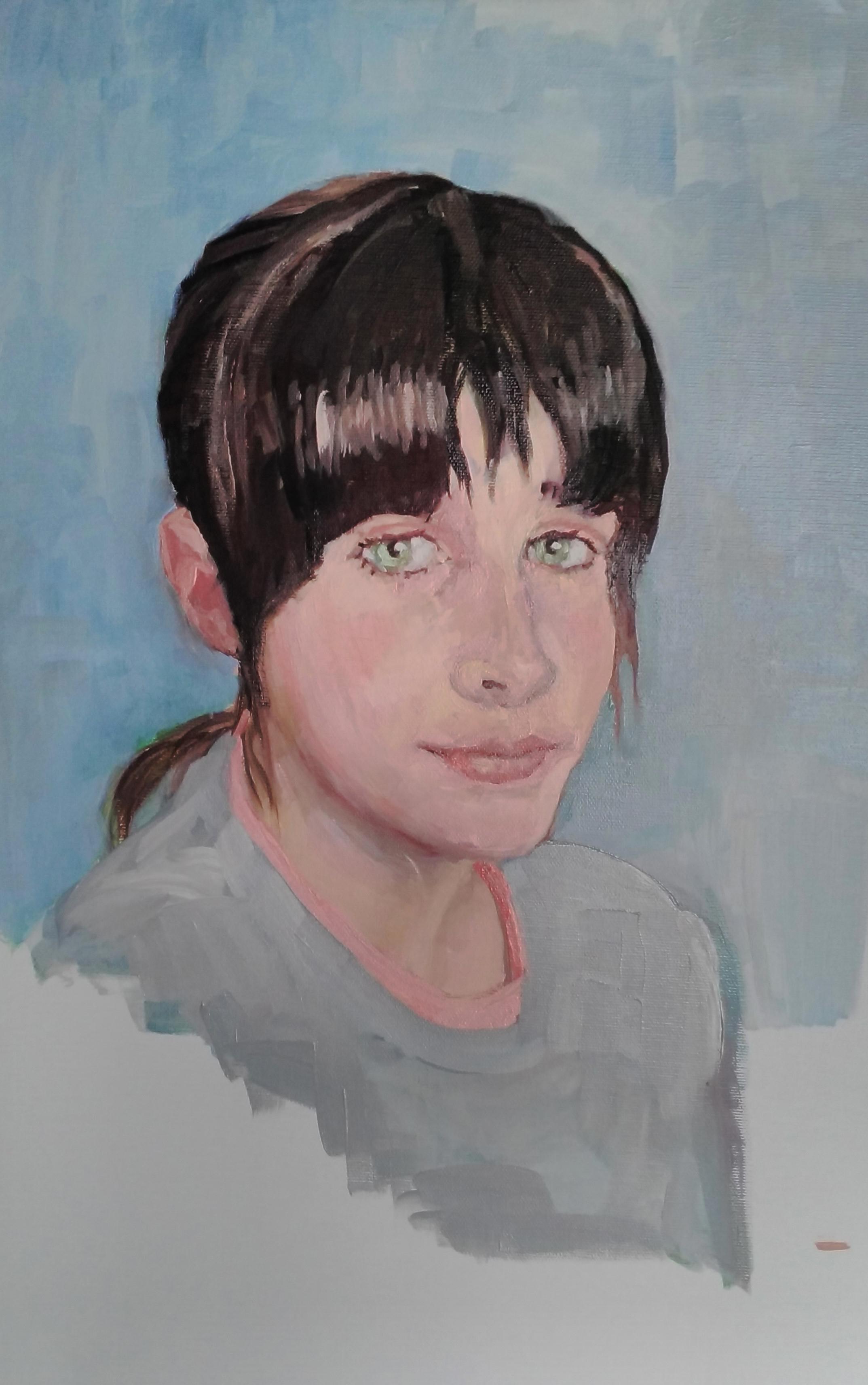 Retrato al óleo de una niña de pelo negro y ojos verdes