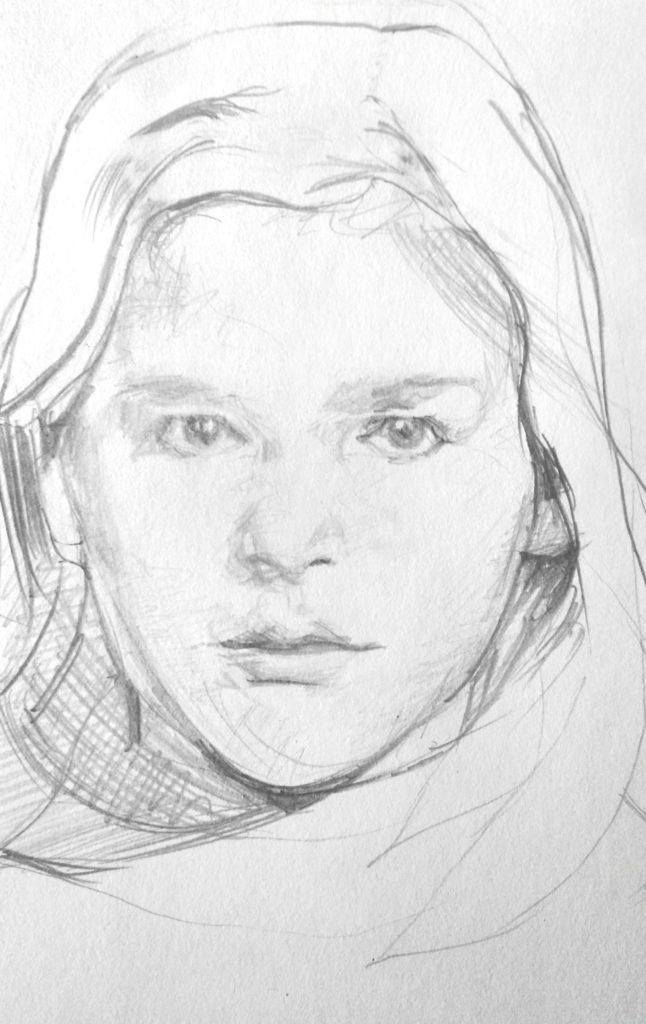 Retrato a lápiz de una niña