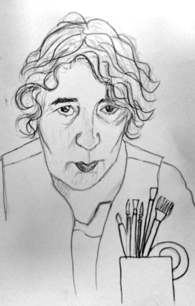 Autorretrato de una mujer. Frente a ella, una taza con pinceles