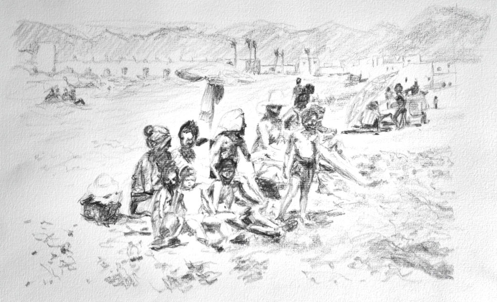 Dibujo de bañistas sentados en la arena de la playa