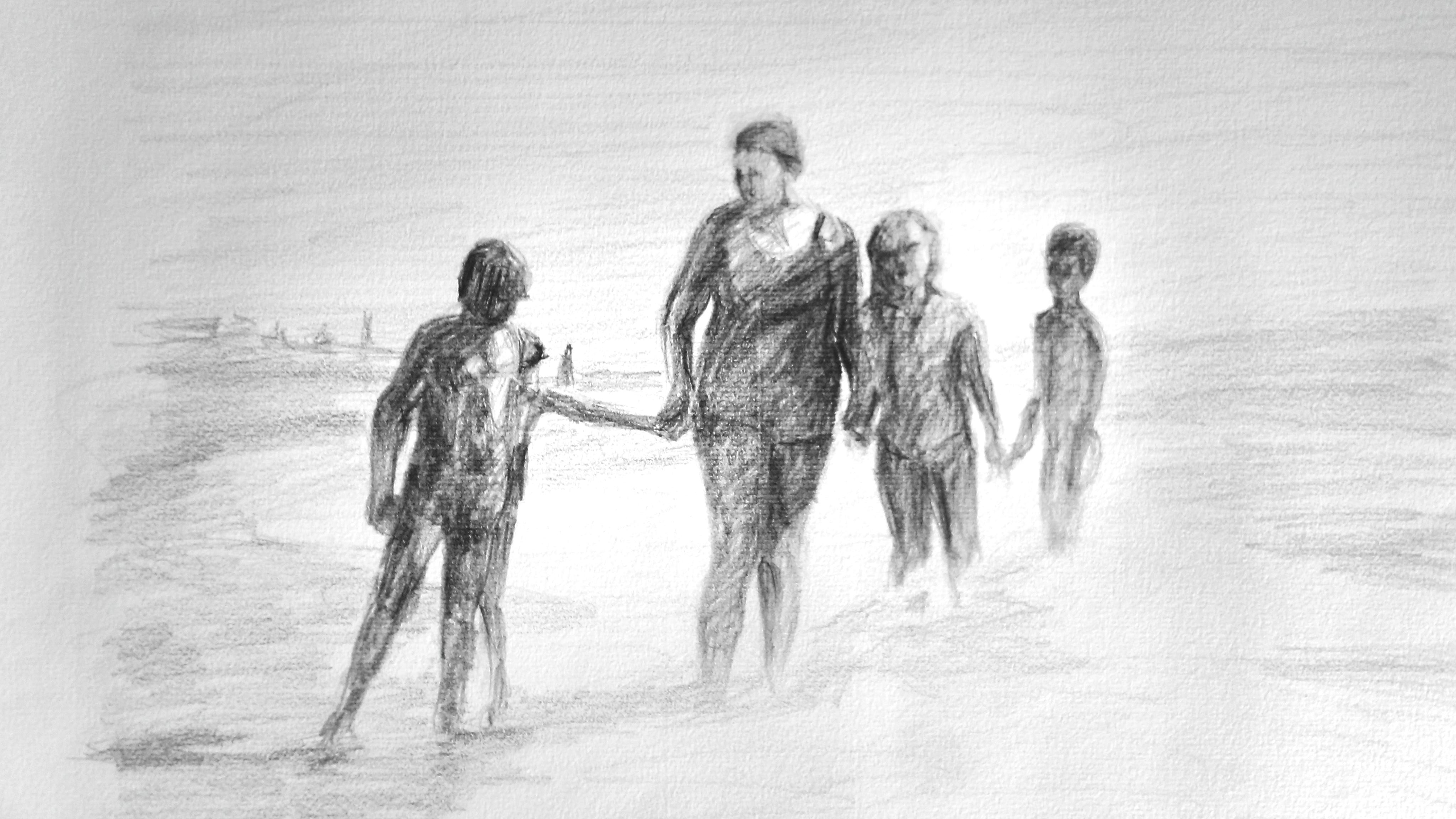 Dibujo de mujer y niños en la orilla del mar