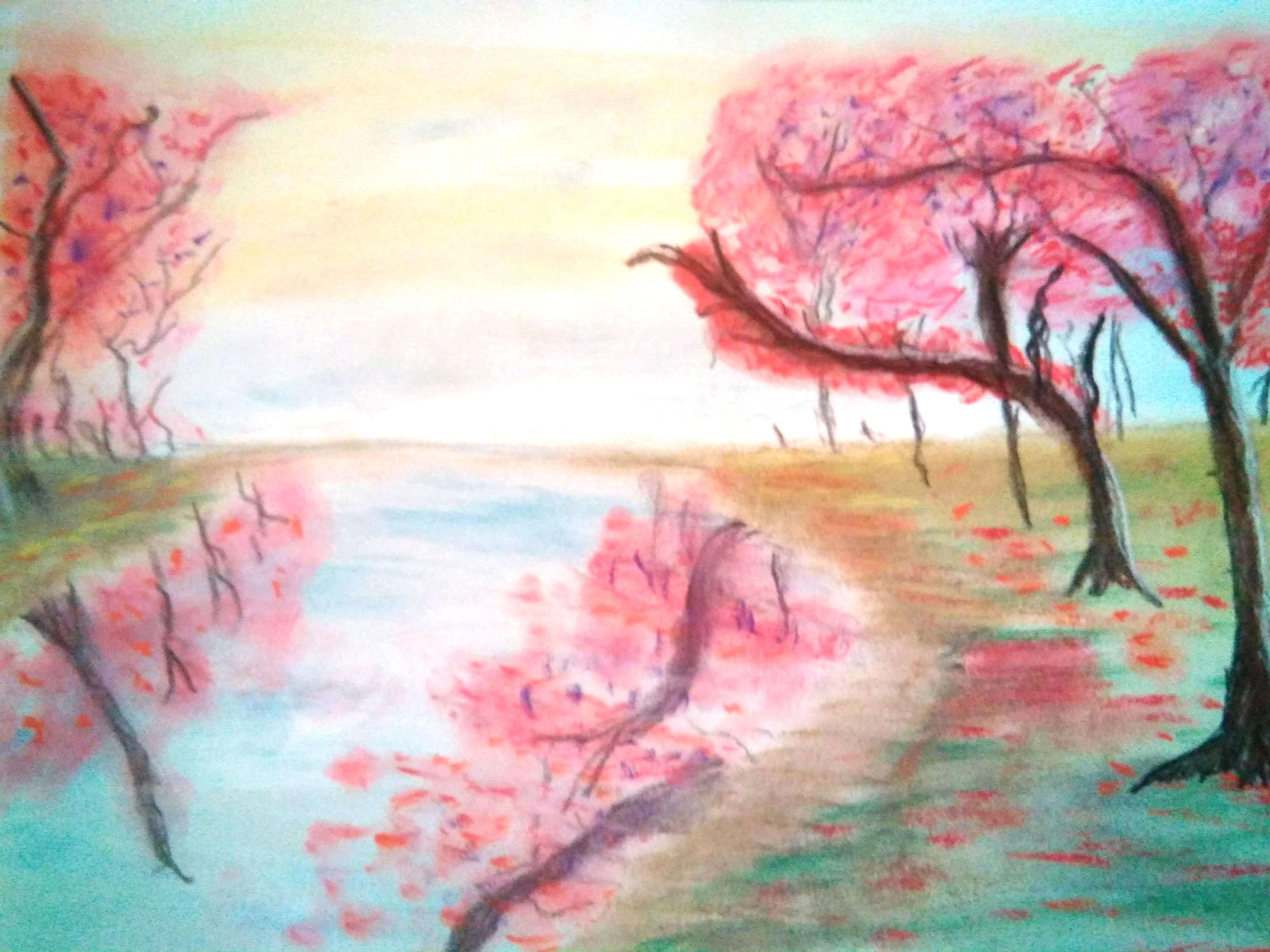 Ilustración de un río y unos árboles de hojas rosadas en la orilla, que se reflejan en el agua