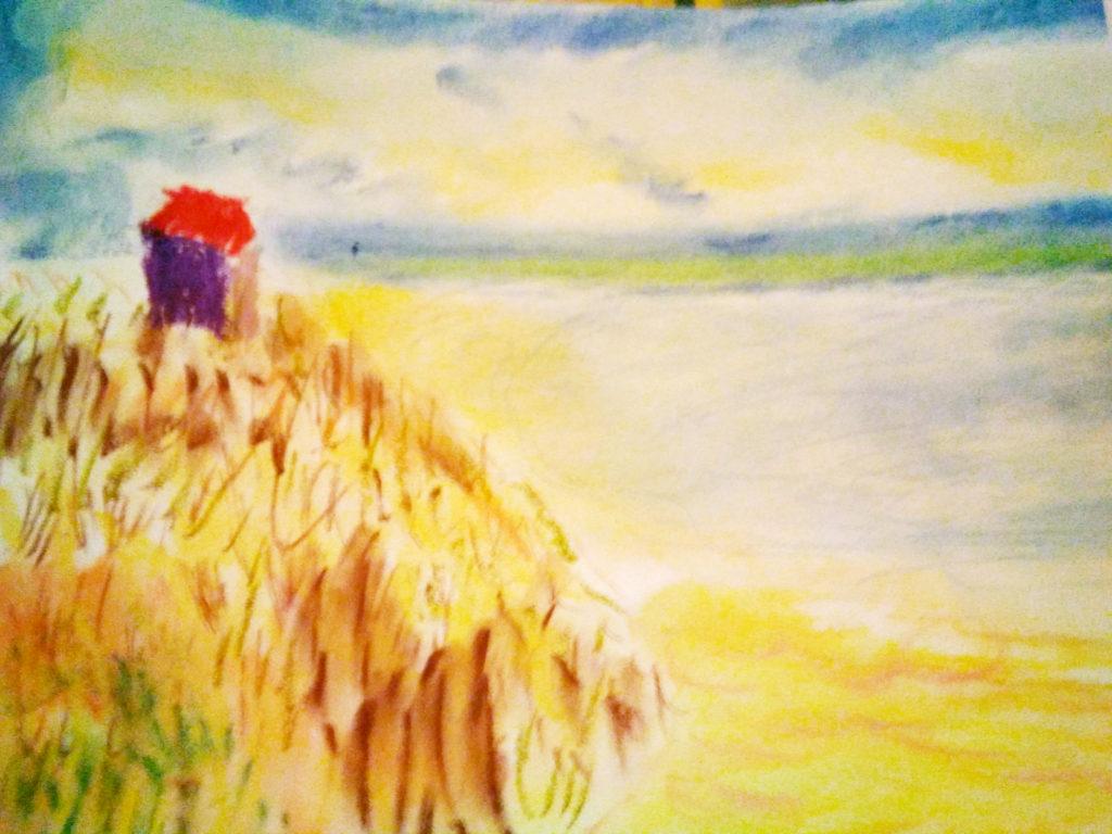 Dibujo de un campo de trigo. En lo alto de un montículo, una casita con el tejado rojo.