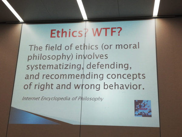 el campo de la ética (o filosofía moral) implica sistematizar, defender y recomendar conceptos de comportamiento correcto e incorrecto